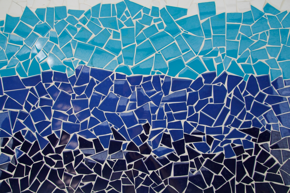 a mosaic featuring multiple shades of blue